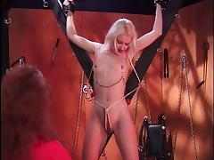Hot blonde in nipple clamps gets tortured tube porn video