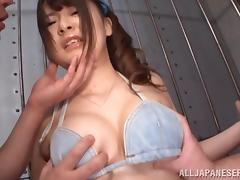 Handcuffed Japanese Satomi Nagase gets her cunt toyed by two men tube porn video