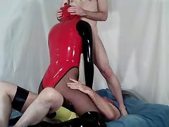 Latex Rubber Crossdresser Spit Roasted tube porn video