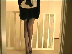 Pleated Skirt Lace Panties And Girdle tube porn video