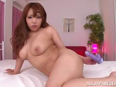 Chubby Asian cowgirl with long hair and big tits moaning as her hairy pussy gets smashed with a toy tube porn video