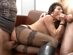 Hairy german granny in boots takes two cocks tube porn video
